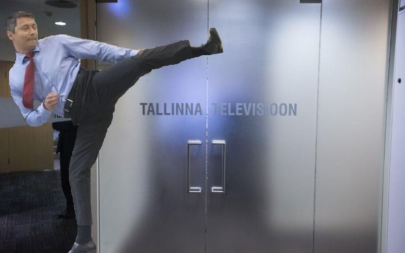 FOTOUUDIS! Mihhail Kõlvart lõi sümboolse jalalöögiga Tallinna TV kontori ukse lõplikult kinni